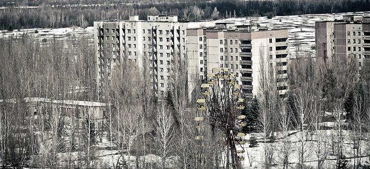 Современный вид на город Припять. Чернобыльская область