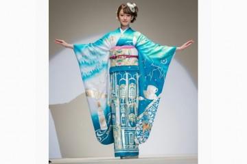 Японские дизайнеры создали кимоно о России с журавлями, Эрмитажем и водкой
